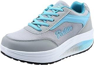 Memefood Plataforma Sneakers Con Cordones Calzado De Malla Zapatillas De Deportivos Cuña Para Mujer De Running Con Air Tac...
