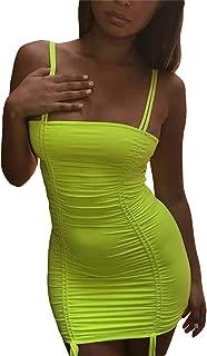 Women's Sexy Front Drawstring Spaghetti Strap Backless Ruched Bodycon Clubwear Mini Dress