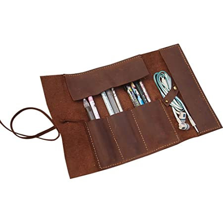 Leather Pencil Roll Organizer Passport Wallet Leather Pencil Roll Case Personalized Holder Brown Distressed Roll Pen Anniversary Artist Gift