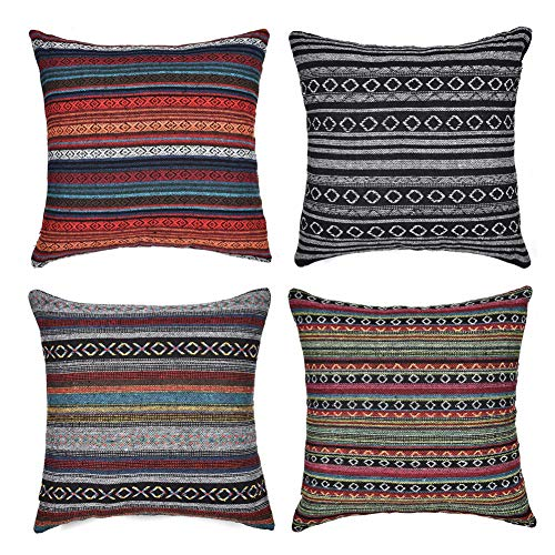 Freeas Set of 4 Decorative Throw Pillow Cover for Couch Sofa Bed Bohemian Retro Stripe Cotton Blend Linen Pillow Case