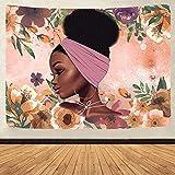Yhjdcc Afroamerikaner schwarzes M?dchen Bunte Druckteppich Hippie geheimnisvolle & edle Afro-M?dchen-Foto-Hintergr&-Wanddekoration 150cm x 200 cm