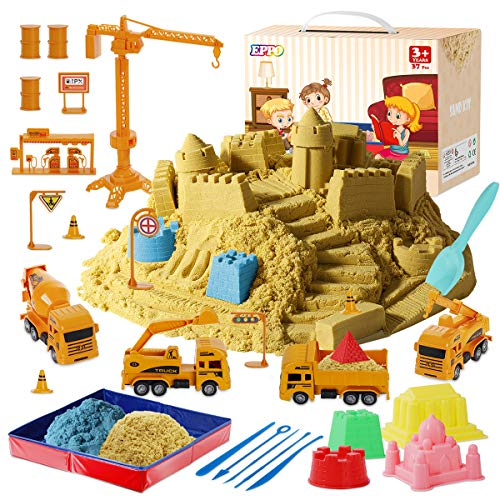 EPPO Play Construction Sand Kit for Kids - Sandbox Play Set , Sensory Toys for Kids with 3 Lbs Sand, 5 Engineer Vehicles, Foldable Sandbox,Sand Molds and Tools - for Children Ages 3 & Above