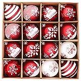 Valery Madelyn Weihnachtskugeln 16 Stücke 8CM Kunststoff Christbaumkugeln Weihnachtsdeko mit...