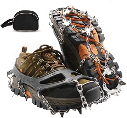 SUNANASKY Traction Cleats Ice Snow Grips Anti Slip Stainless Steel Crampons 19 Spikes Walking, Jogging, Climbing, Hiking