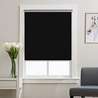 Blackout Roller Shades and Blinds for Windows, Bedroom, Thermal, Cordless and Easy to Pull Down & Up, Black, 36