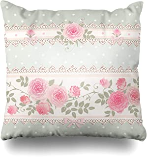 Ahawoso Throw Pillow Cover Green Flower Floral Polka Dot Pattern Lace Bows Leaf Pink Roses Shabby Chic Vintage Abstract Bloom Decor Zippered Cushion Case 20