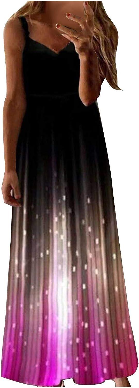 Maxi Dresses for Women,Women Casual Spaghetti Strap Luminous Print Sleeveless Camisole Vest Long Dress