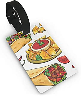 MTcheufloure Personalized Luggage Tag Fiesta Taco Cartoon Customized Travel ID Tag Identification Label Leather For Baggage Suitcase To Protect Personal Information