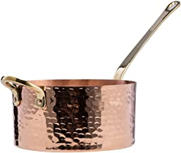 DEMMEX 1.2mm Thick Hammered Solid Unlined Uncoated Copper Sugar Sauce Zabaglione Candy Pan with Lid and Helper Handle, (1....