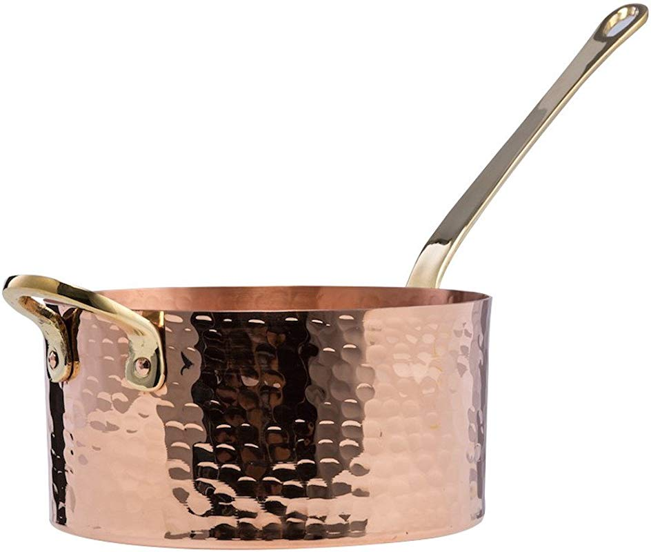 New DEMMEX 1 2mm Thick Hammered Copper Sugar Sauce Zabaglione Pan With Helper Handle 1 7 Quart