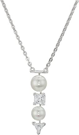 7-8mm Round Pearls and CZ on Sterling Silver Pendant with Chain Necklace 15-17""