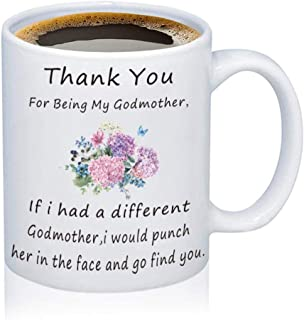 TGBJE Godmother Coffee Mug Thank You For Being My Godmother Mug Gift Baptism Gift Family Cup (12 OZ)