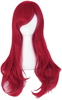 """MapofBeauty 28"""" 70cm Long Curly Hair Ends Costume Cosplay Wig (Dark Red)"""