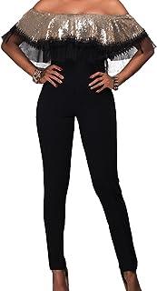 肩のジャンプ スーツを女性のスパンコール半袖