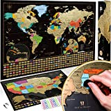 Scratch Off Map of the World + USA Map - Set of Two Deluxe Gold Scratch-Off Travel Posters with Colorful Countries, US States and Flags - Made in Europe