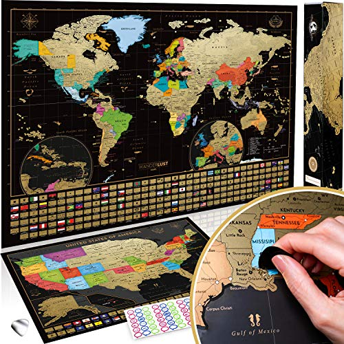 Scratch Off Map of the World + USA Map - Set of...