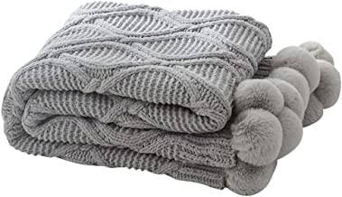 MYLUNE HOME Lujo Tejer Elegante Manta de Punto Cobertura para Ver la Televisión en la Silleta, Sofá y Cama, Las Dos Caras Cubiertas 130 * 160cm (Gray UK)