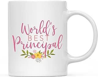 Andaz Press 11oz. Coffee Mug Gag Gift, World's Best Principal, Floral Design, 1-Pack, Beautiful Unique Flower Coffee Cup Birthday Christmas Graduation Ideas for School Teacher Her Women Wife Sister