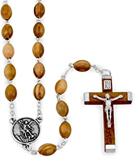 St. Michael Rosary with Olive Wood Beads