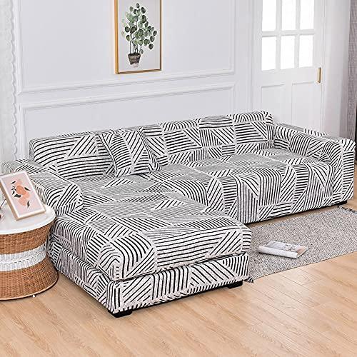 MKQB Funda de sofá Chaise Longue, Funda de sofá elástica con combinación de Esquina en Forma de L, Funda de sofá Antideslizante con Envoltura hermética n. ° 6 M (145-185cm