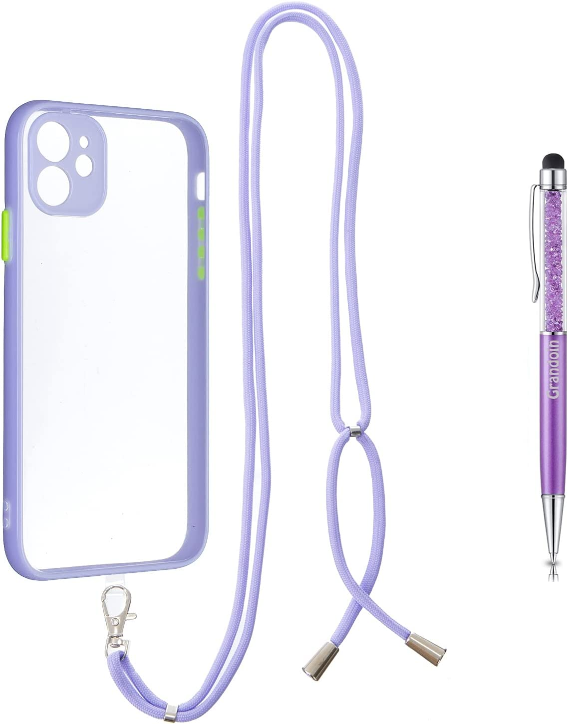 Grandoin Crossbody Case for iPhone 11 (6.1 Inch), Lanyard Case Necklace Mobile Phone Cover with Adjustable Cord Strap, Clear Transparent TPU Cover Holder with Neck Cord Lanyard Strap (Purple)