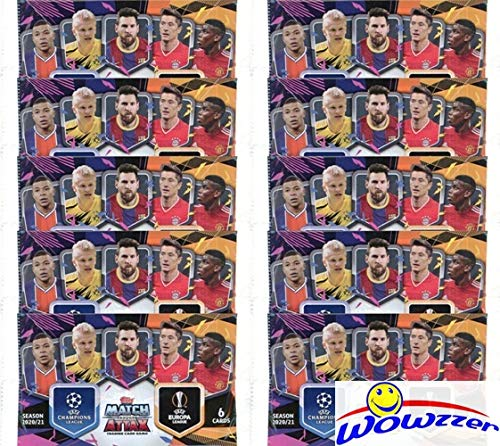 2020/21 Topps Match Attax Champions League Soccer Collection of (10) Factory Sealed Foil Packs with 60 Cards! Look for Top Stars including Haaland, Ronaldo, Messi, Mbappe, Pulisic & More! WOWZZER!