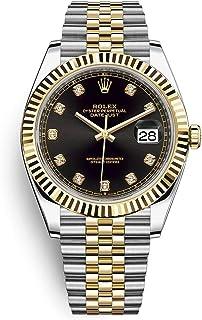 Datejust 41 Black Diamond Dial Stee and 18K Yellow Gold Jubilee Mens Watch 12633BKDJ