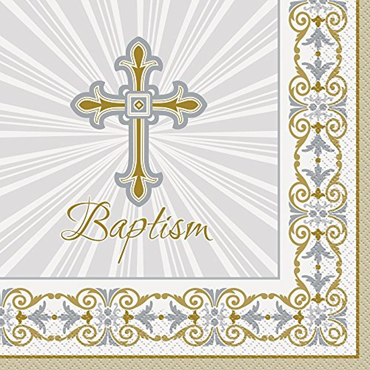 Gold & Silver Radiant Cross Baptism Party Napkins, 16ct