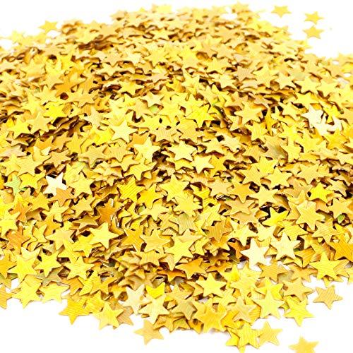 Chudian 4 Bolsas Confeti de Fiesta Confeti Cumpleaños de Estrella Confeti Dorado, 80g Confeti de Papel Metálico Confeti Boda Pequeño Decoración de Fiesta de Navidad (Dorado,6mm,4 x 3000pcs)