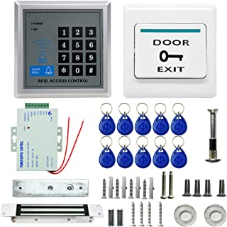 مجموعات نظام التحكم في الوصول MJPT015 RFID + قفل مغناطيسي + 10 وظائف لبطاقة الهوية + مزود طاقة + زر خروج