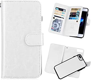 iPhone 7 Plus(5.5'') Wallet Case,iPhone 8 Plus Wallet Case PU Leather Folio Flip 9 Credit Card Slots Cash Holder Magnetic Vintage Book Style Case for iPhone 7plus -White