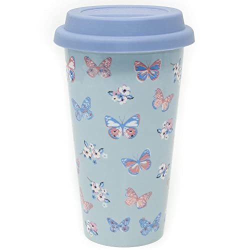 Insulated Double Walled Travel Mug Ceramic Vintage Butterfly (Duck Egg Blue)