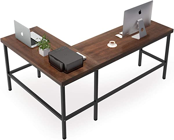 Tribesigns Solid Wood L Shaped Desk Rustic Corner Computer Desk PC Laptop Desk Sturdy Gaming Table Workstation For Home Office