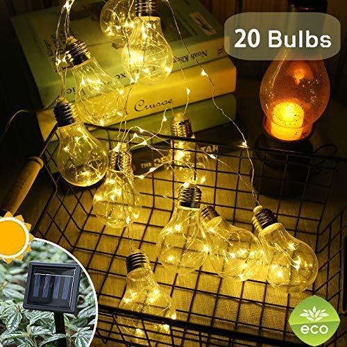 Treer LED Solar Lichterkette Glühbirnen, Außen Garten Deko Kugel Sternenlicht Glühbirne Wasserfest 8 Modi Außerlichterkette für Terrasse Hof Innen Haus Weihnachtsbaum Feiern (8m / 20 Glühbirne)