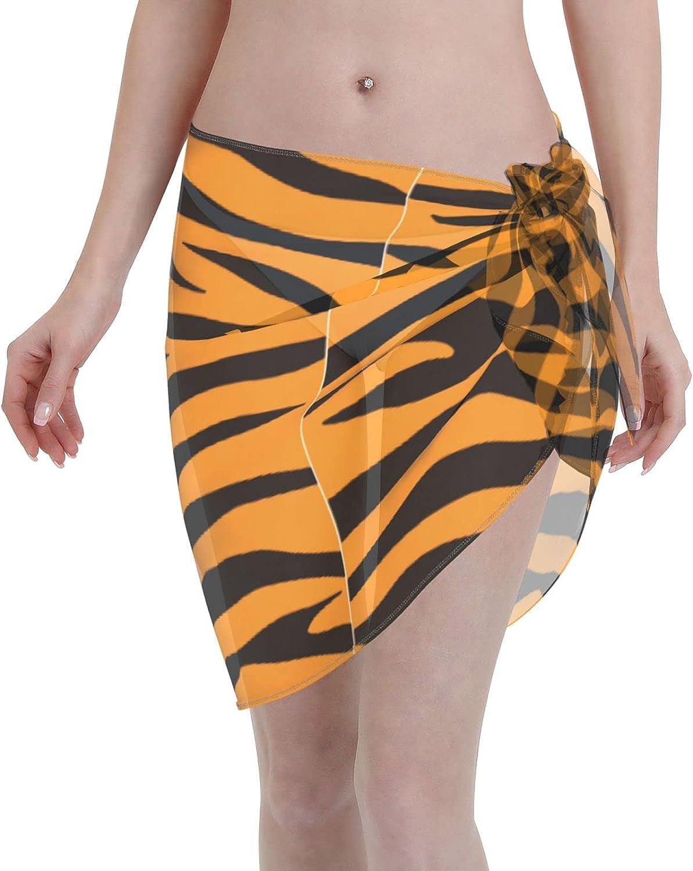 Kakekedianzi Tiger Print Women Short Sarongs Beach Wrap Wraps Chiffon Cover Ups for Swimwear Black