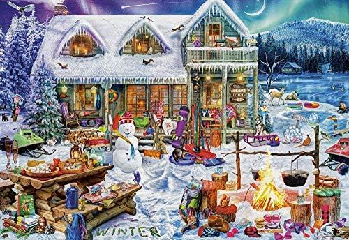 LEOGOR Kit de punto de cruz para principiantes, para niños, invierno, Navidad, bordado, bordado, punto de cruz, decoración del hogar, 40,6 x 50,8 cm (lienzo preimpreso de 11 quilates)