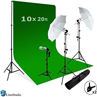 LimoStudio Chromakey Green Screen Background Support with 10' x 20' Green Muslin Backdrop + Umbrella Lighting Kit 600W, AGG408