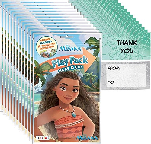 """Disney Moana Grab and Go Play Packs Bundle (12 Packs) Party Favors and 12 """"Thank you"""" Cards"""