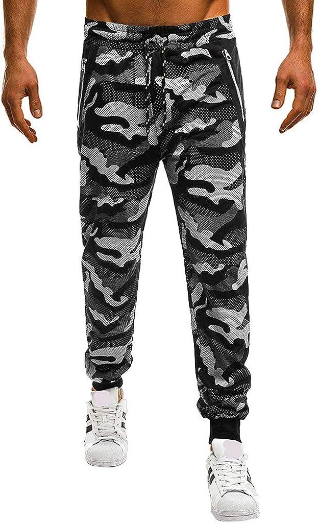 Yoyorule Fashion Men's Sport Camouflage Lashing Belts Casual Loose Sweatpants Drawstring Stretch Cargo Pant Hiking Pants
