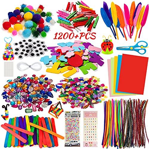 Kit Manualidades niños 1200 PCS,Pipe Cleaners Crafts Set,Juego de Manualidades,Limpiadores de Pipa Chenilla y Pompoms con Wiggle Eyes y Craft Sticks,Juego Creativo Regalo para Craft DIY Art Supplies