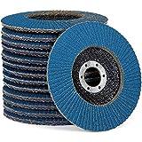 Juego de discos de abanico de alta calidad, color azul, 10 unidades, diámetro de 125 mm, paquete mixto (2 de grano 40/60, 3 de grano 80/120)