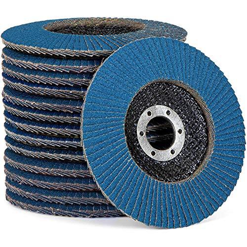 Premium-Fächerscheiben Set│ blau │ 10 Stück │ Ø 125 mm │ Mixpack (je 2 x Korn 40/60 je 3x Korn 80/120) │ Inox │Schleifscheiben │ Lamellenscheiben