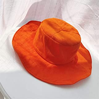 ZiWen Lu from Forest Green ~ Pure Fresh Mint Green ins Wind Brimmed hat Female Summer Wild Korean pots hat Sun Shade (Color : Orange, Size : One Size)
