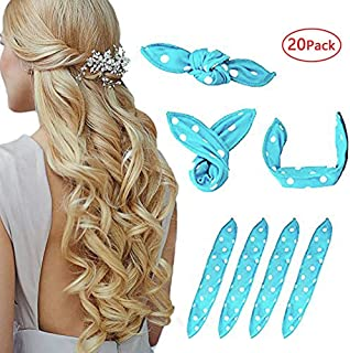 Foam Hair Curlers, Pillow Cloth Hair Rollers,No Heat Sleeping Soft Sponge Rollers for Long, Short, Thick & Thin Hair Spiral Curls Hair Headband (Blue)