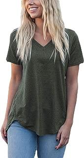 Apparel Women's Loose Cut Casual V-Neck Short Sleeve Top