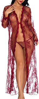 Lingerie Long Nightgowns for Women Ladies Long Sexy Lingerie Lace Sexy with Robe Nightdress Bridal Nightwear Chemise Babyd...