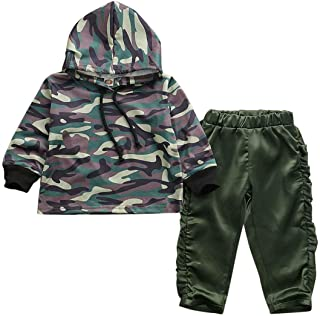 Toddler Baby Boy Cool Camouflage Camo Hoodie and Pants Set Boy Outdoor Hooded Tops Pants Outfit