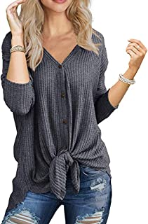 Halife Women's 3 4 Sleeve Split Hemline Casual T-Shirt Blouse Tunic Tops with Buttons