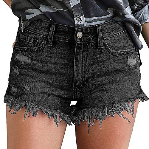XOXSION Pantalones vaqueros cortos de verano para mujer, ligeros, de mezclilla, estampados, para la playa, informales, de verano, para la playa, color negro, talla S