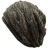 (ディグズハット)DIGZHAT コットン 立体編み ニットキャップ 薄手 ニット帽 サイズ展開 (M, カーキxベージュ)